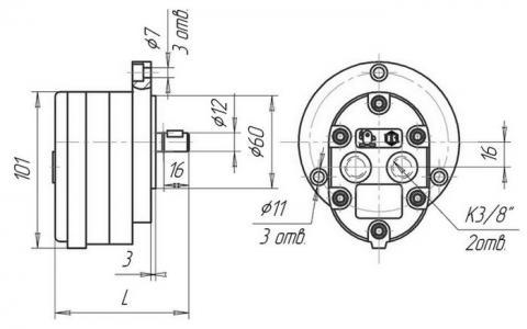 Схема габаритов насосов АГ11- 11-1, АГ11- 11А-1