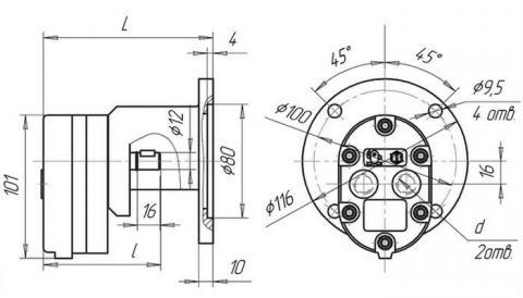 Схема габаритов насосов АГ11-11, АГ11-11А