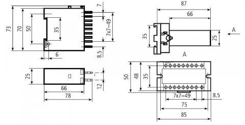 Габаритная и установочная схема реле без контактной колодки (слева) и с контактной колодкой (справа)