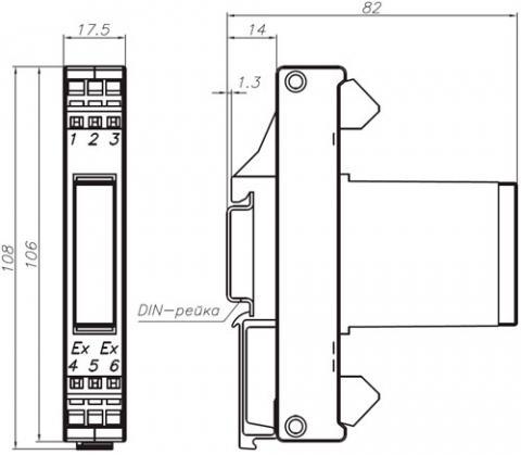 Габаритные размеры барьера искрозащиты BSZ.621
