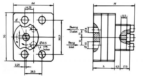 Схема габаритов насосов 21НШ-0,6К4, 21НШ-1,2К4, 21НШ-2К4, 21НШ-2,4К3