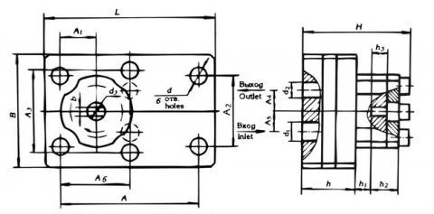 Схема габаритов насосов 21НШ-10К6, 21НШ-20К6, 21НШ-30К1, 21НШ-45К1