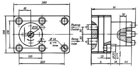 Схема габаритов насосов 21НШ-75К4, 21НШ-150К4, 21НШ-250К1