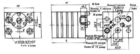 Схема габаритов насосов 33НШ-0,3х2К, 33НШ-0,6х2К, 33НШ-1,2х2К
