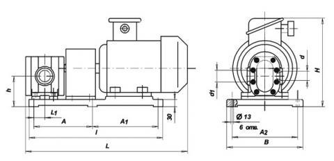 Схема габаритов насосов БГ11-2