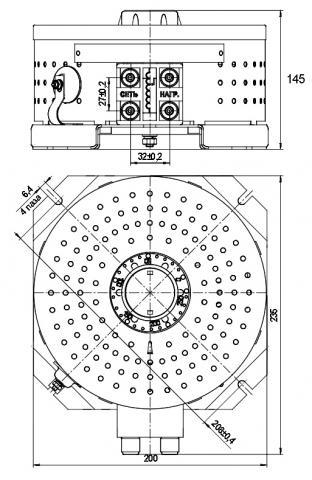 Габаритные и установочные размеры автотрансформатора ЛАТР-2,5