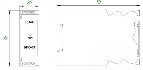 Схема габаритов блока БПО-31