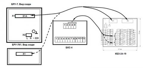 Схема подключени блока управления БРУ-7, БРУ-7К1