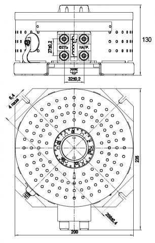 Габаритные и установочные размеры автотрансформатора ЛАТР-1,25