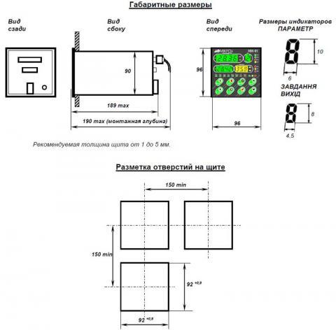 Схема габаритов контроллеров МИК-51