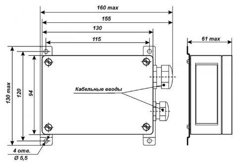 Схема габаритов преобразователя ПК-10-1