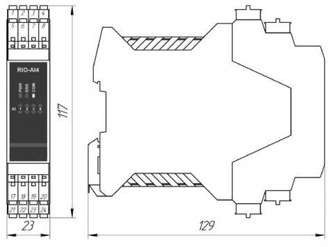 Схема габаритов модуля RIO-AI4