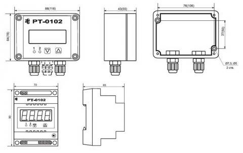 Схема габаритов регуляторов РТ-0102, РТ-0102С, РТ-0102DIN