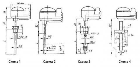 Схемы габаритов преобразователей ТХА-1087, ТХК-1087