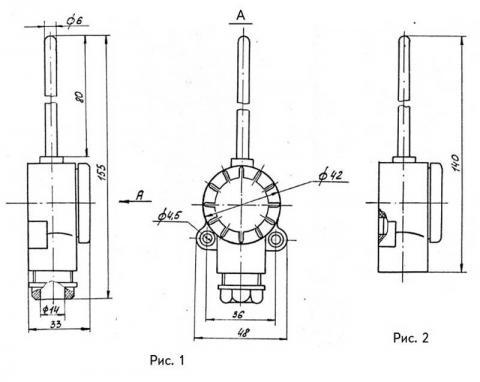 Схема габаритов преобразователей ТСМ-0987, ТСП-0987