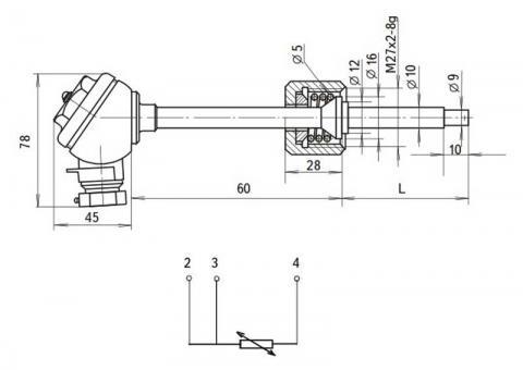 Схема габаритов и соединения термопреобразователей ТСМ-8043Р