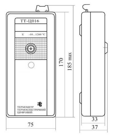 Схема габаритов термометра ТТ-Ц016