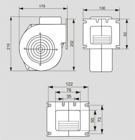 Схема габаритов вентилятора WPA-120