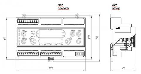 Схема габаритов блоков управления БРУ-110Н