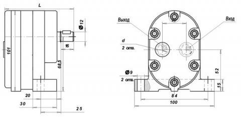 Схема габаритов насосов Г11-11, Г11-11А