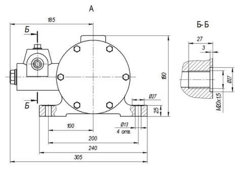 Схема габаритов насоса Н-401УР