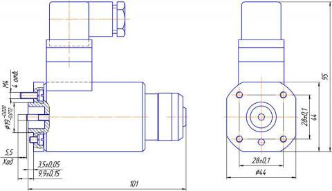 Конструктивная схема №1 - привод гидрораспределителя типа РЕ 6 – С – Г *-УХЛ3