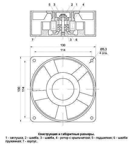 Конструкция и габаритные размеры вентилятора ВН-2
