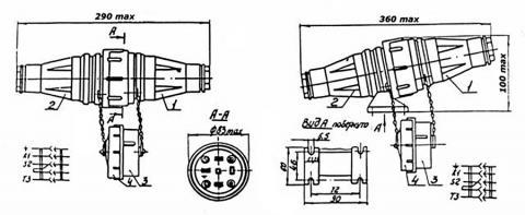 Габаритные, установочные размеры и схема электрических соединений СП-063