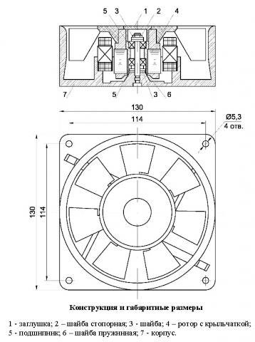 Конструкция и габаритные размеры вентилятора ВН-3
