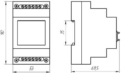Рис.1. Габаритные и присоединительные размеры реле времени ВЛ-177
