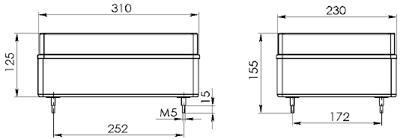 Рис.1. Габаритные и присоединительные размеры блока конденсаторов БК-20400