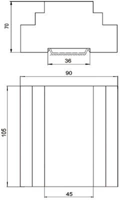 Рис.1. Габаритные и присоединительные размеры  блока управления БУАВР.К