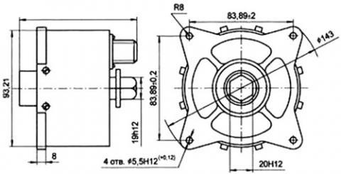 Рис.1. Габаритные и присоединительные размеры  датчика числа оборотов ИС-144