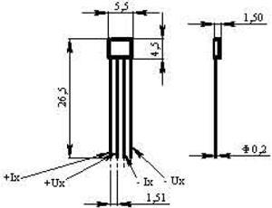 Рис.1. Габаритные и присоединительные размеры датчика Холла ДХ2