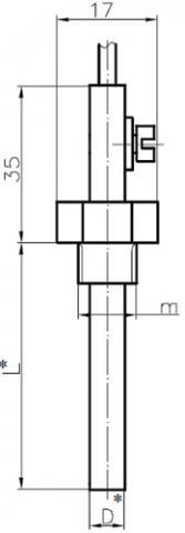 Рис.1. Габаритные и присоединительные размеры  датчика температуры WAD305-X