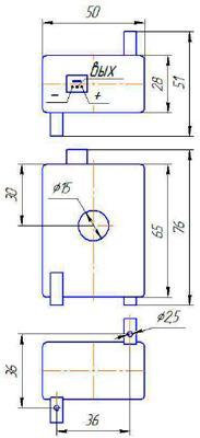 Рис.1. Габаритные и присоединительные размеры датчика тока ДТЭ-25-200М