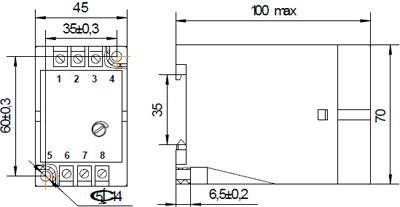 Рис.1. Габаритные и присоединительные размеры фотореле ФР-01