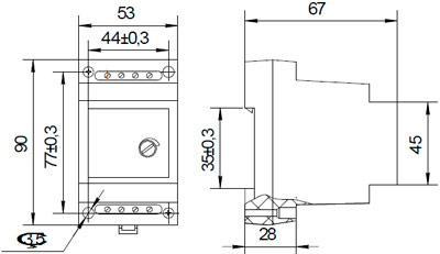 Рис.1. Габаритные и присоединительные размеры фотореле ФР-02