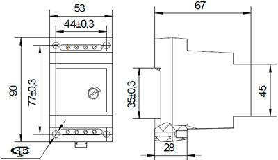 Рис.1. Габаритные и присоединительные размеры фотореле ФР-04