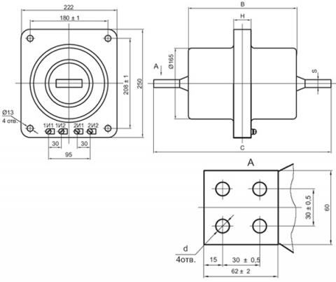 Рис.1. Габаритные и присоединительные размеры проходного трансформатора тока ТПОЛ-10