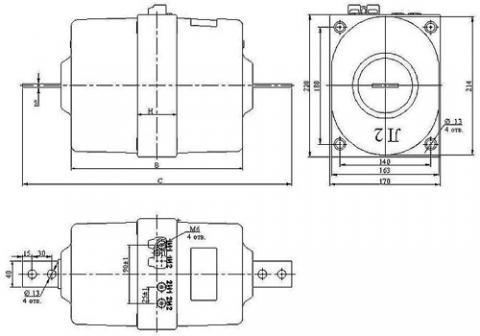 Рис.1. Габаритные и присоединительные размеры проходного трансформатора ТПОЛ-10М