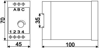 Рис.1. Габаритные и присоединительные размеры реле контроля напряжения ЕЛ-11