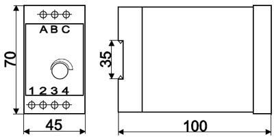 Рис.1. Габаритные и присоединительные размеры реле контроля напряжения ЕЛ-12