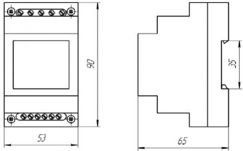 Рис.1. Габаритные и присоединительные размеры реле контроля напряжения ЕЛ-26