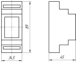 Рис.1. Габаритные и присоединительные размеры реле контроля напряжения ЕЛ-М12