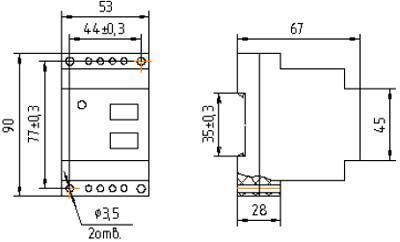 Рис.1. Габаритные и присоединительные размеры реле максимального напряжения НЛ-6А-1