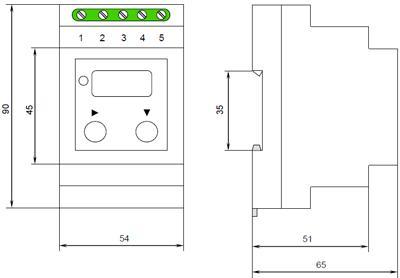 Рис.1. Габаритные и присоединительные размеры реле напряжения НЛ-18-2