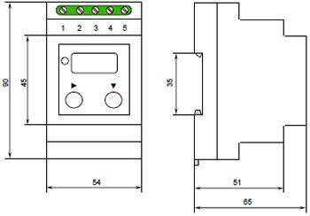 Рис.2. Габаритные и присоединительные размеры реле напряжения НЛ-19