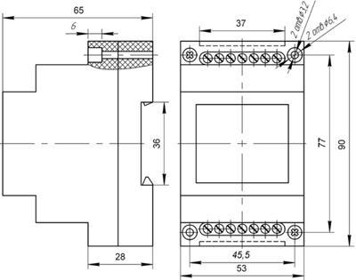 Рис.1. Габаритные и присоединительные размеры реле промежуточного ПЭ-46А