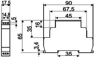 Рис.1. Габаритные и присоединительные размеры реле времени ВЛ-161